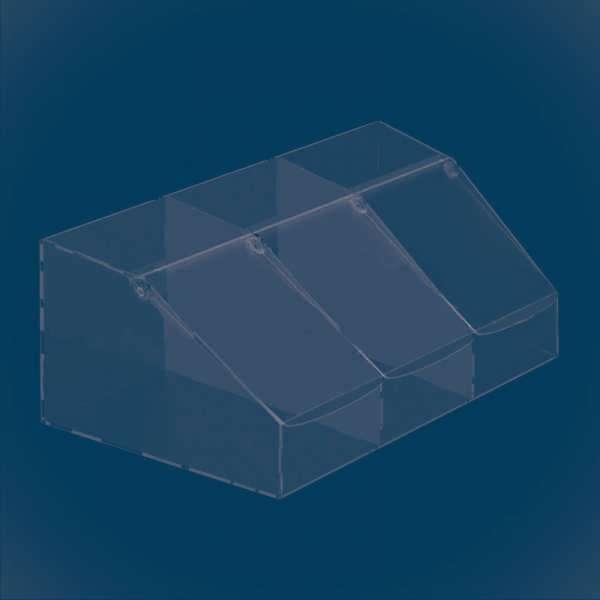 Диспенсер прямоугольный из 3 секций с наклонной крышкой