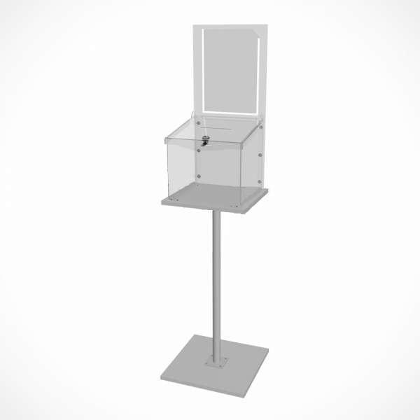 Ящик для пожертвований из оргстекла напольный с замком и карманом