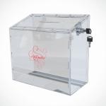 Ящик из прозрачного оргстекла с выдвижной крышкой и замком 235*300*125